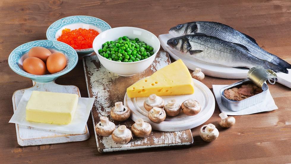 Det finns relativt få livsmedel som naturligt innehåller D-vitamin.