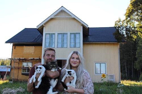 Johan och Emilia med katterna Lovis, Siv och Sture.
