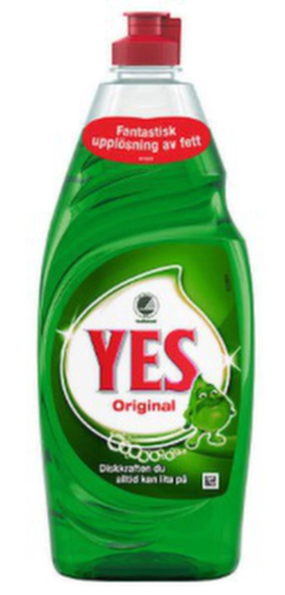 3. YesDiskmedlet Yes fungerar mot det mesta, även mot rödvinsfläckar. Förbehandla fläcken med diskmedlet, gnugga in ordentligt en stund innan du tvättar den i maskin.Källa.