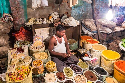 Kryddmarknad i Delhi.