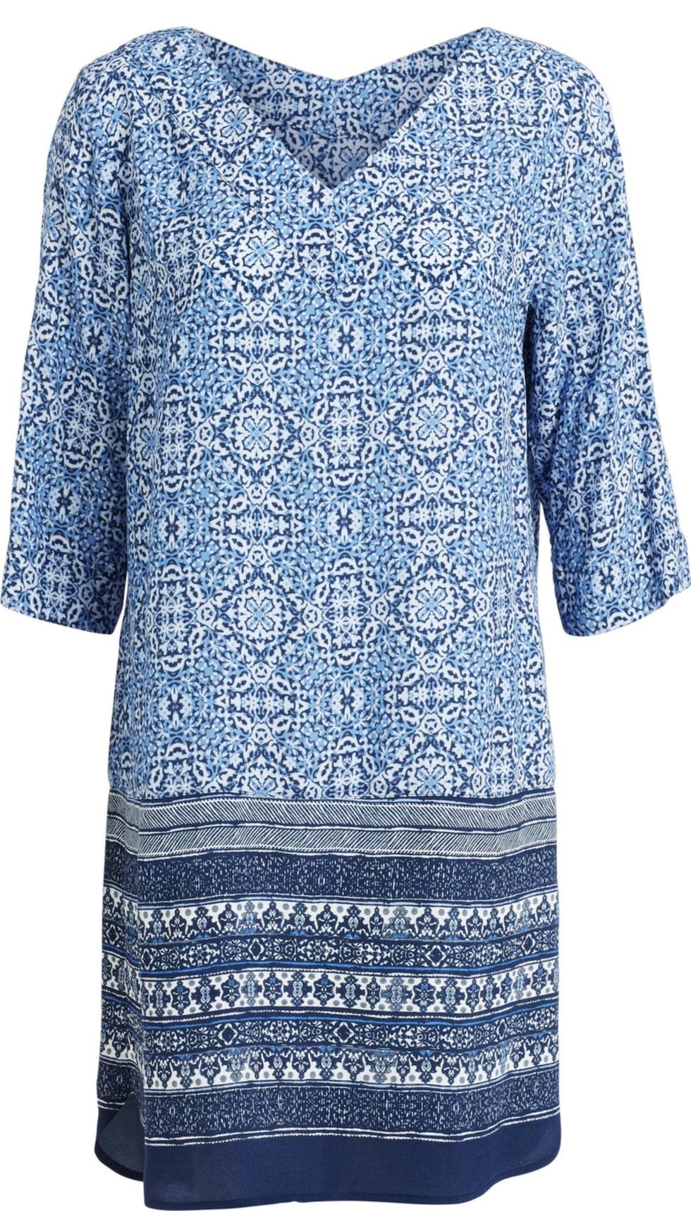 Rymlig. Dra uppmärksamheten till mönstret. Blå, mönstrad klänning i rymlig modell gör jobbet. I viskos. 399 kronor, Kappahl.com.