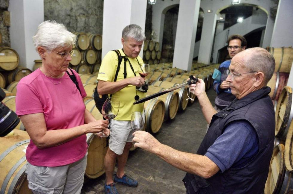 Vinprovning. Nere i vinkällaren hålls provning, med ägaren Felipe Gutiérrez de la Vega.