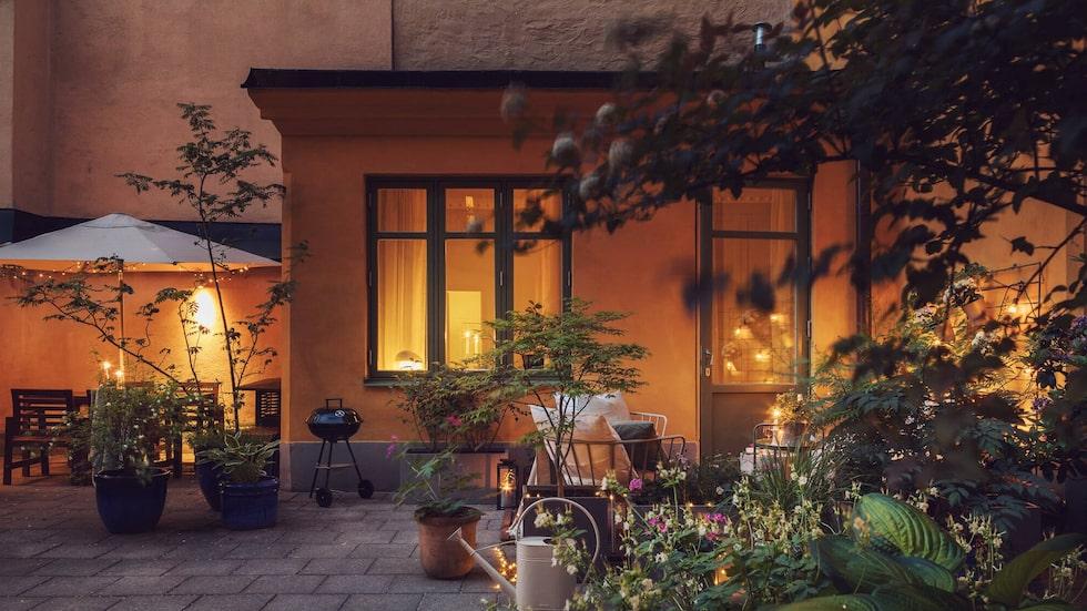 Gårdshuset ligger som i en grön oas mitt i centrala Stockholm.