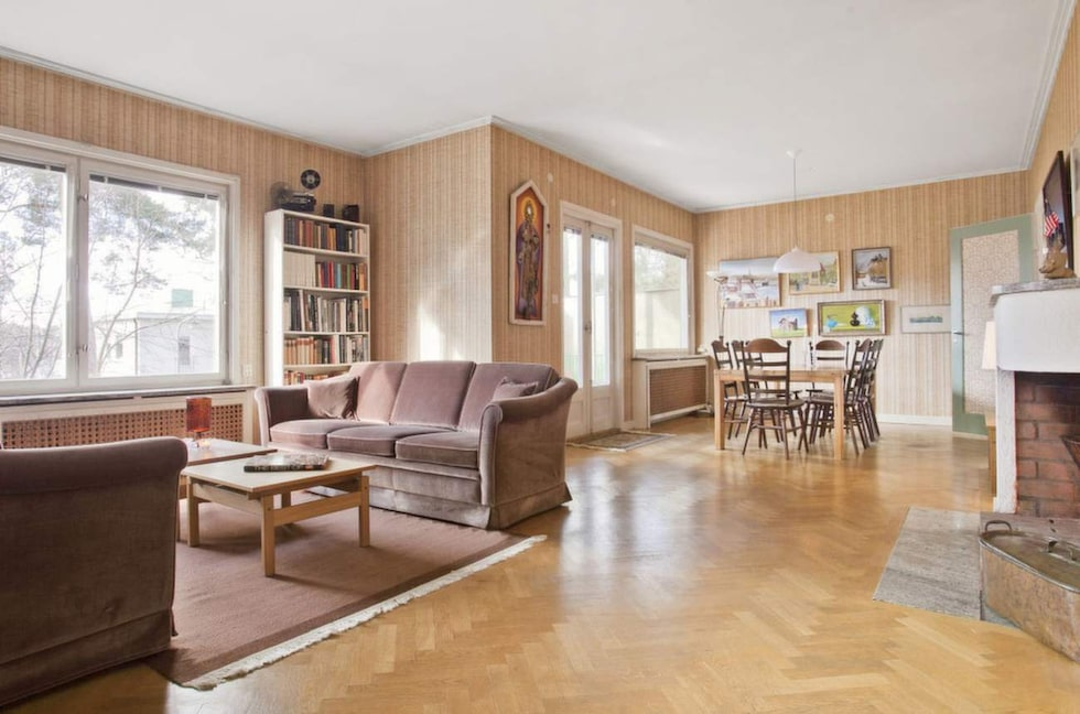 Vardagsrummet i huset som är byggt 1937.