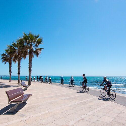 Cykla utmed hav och över berg på Mallorca.
