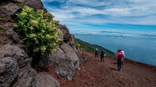 Från toppen av 3 776 meter höga Mount Fuji kan du se hela vägen till Tokyo när vädret är klart.