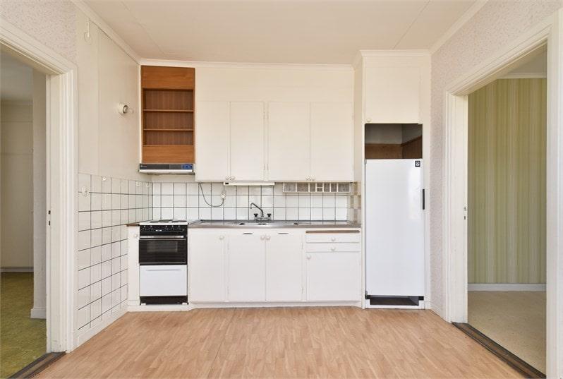 Det här köket hittar vi på övervåningen.