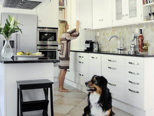 Dottern Josefina förbereder dagens lunch i sällskap av familjens Australian shepard Gizmo. Köket är ett Kvänum-kök, golvklinkers från Kakelpalatset, kranarna Grohe och bänkskivor i svart granit från Kungälvs sten.