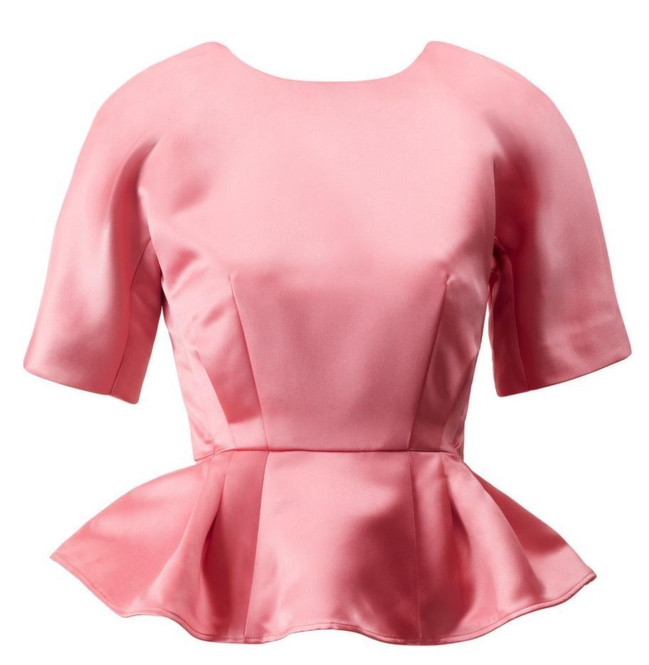 Med peplum får du fin timglas-figur. Den här rosa toppen kommer från H&M, 399 kronor.