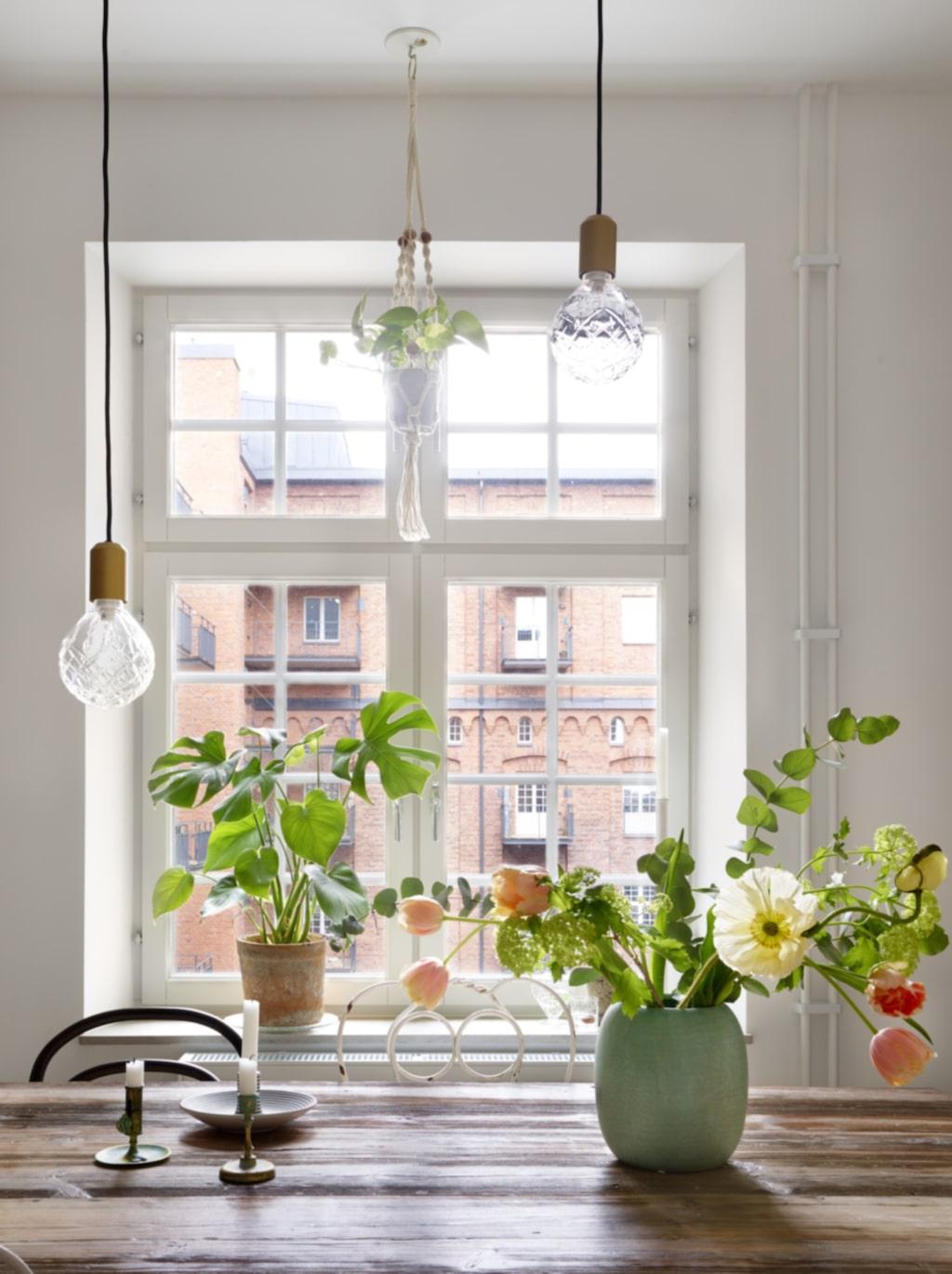 Gröna växter. I fönstret står en monstera i kruka från Plantagen. Ljusstake med fat från Paradisverkstaden. Ljusstakarna i mässing är loppisfynd. Ampel från Lagerhaus.
