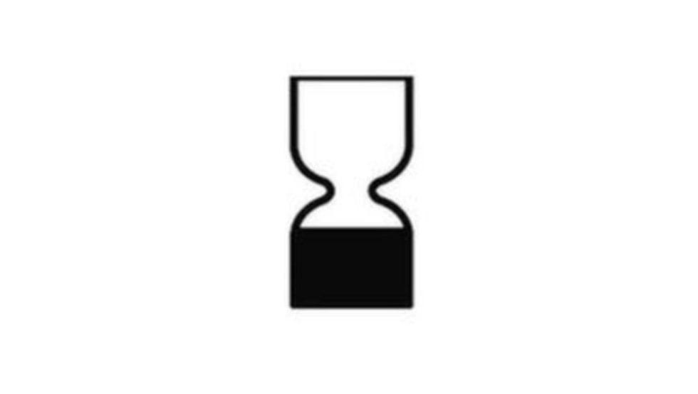 Timglassymbolen kombineras ofta i form av ett datum och en månad.