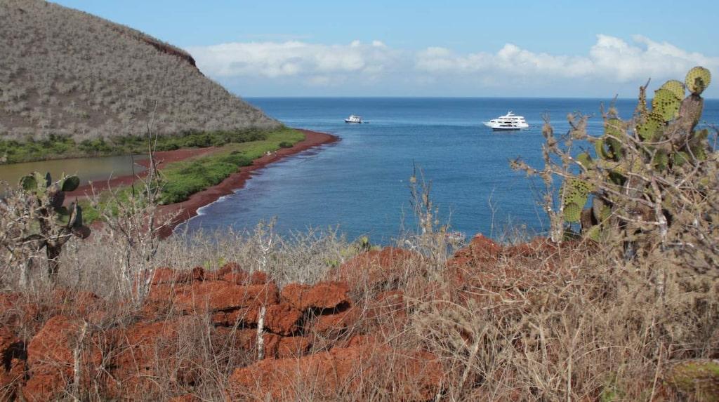 Isla Rábida är berömd för sina röda stränder.