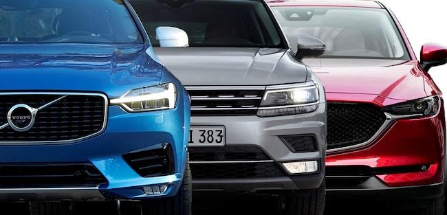 Vi har provkört de tre storsäljarna Volvo XC60, VW Tiguan och Mazda CX 5.