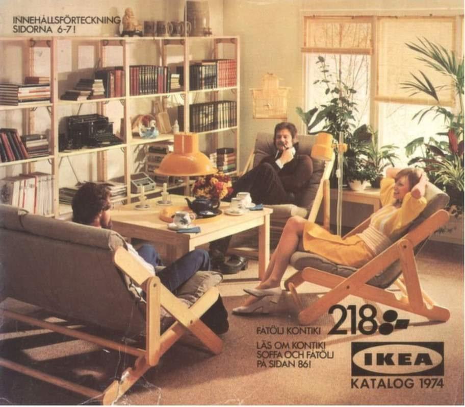 På 1974 års katalogomslag sitter en farbror och röker pipa i en fåtölj.