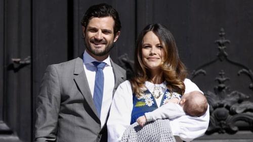 Prins Carl Philip, prinsessan Sofia och lillprins Alexander, hertigen av Södermanland.