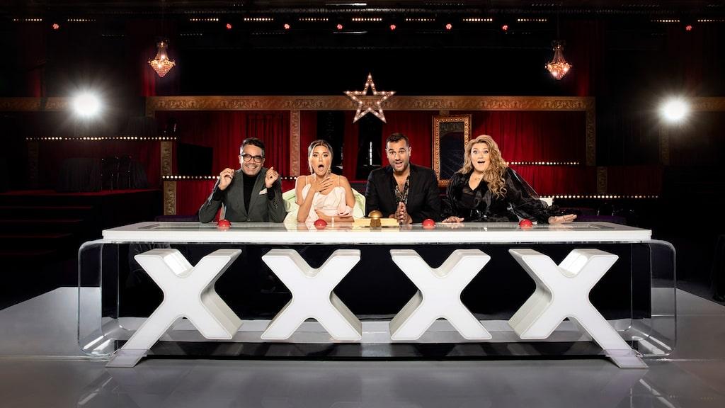 """Sarah Dawn Finer tillsammans med resten av """"Talang""""-juryn bestående av David Batra, Bianca Ingrosso och Edward af Sillén."""