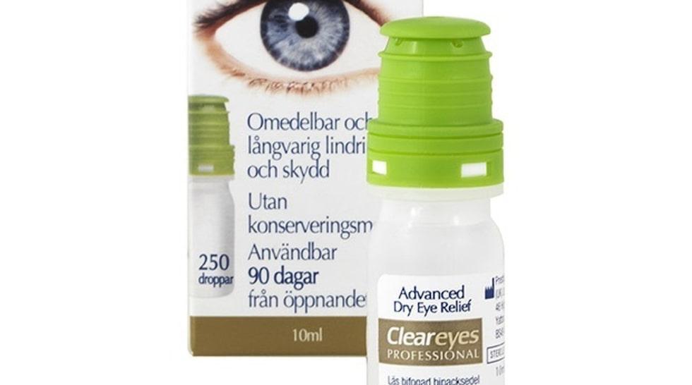 <p>En till två droppar i varje öga smörjer tårfilmen och ger direkt ett skydd som känns skönt och lindrande. Innehåller natriumhyaluronat som också fungerar om man bär kontaktlinser.</p><p>Cleareyes professional, 149 kr/10 ml, apoteket.se</p>