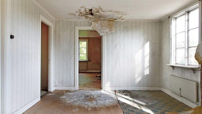 Huset har stora fuktskador.