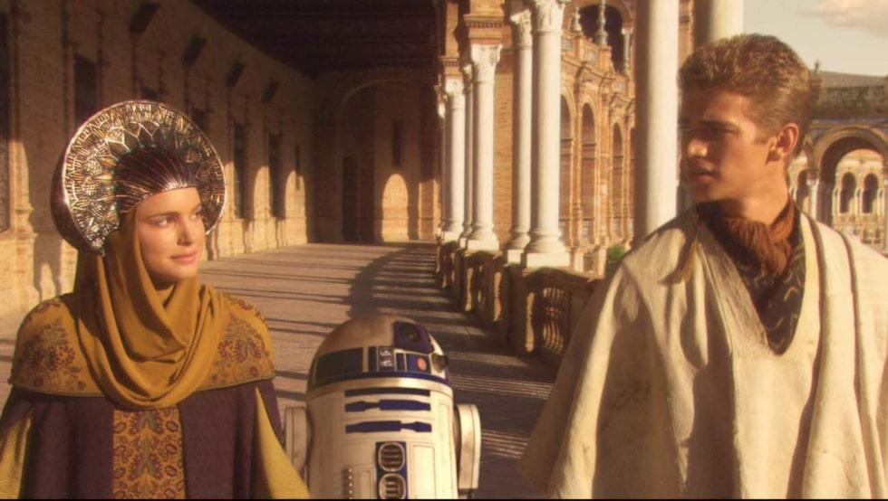 Natalie Portman och Hayden Christensen i palatset i Sevilla.