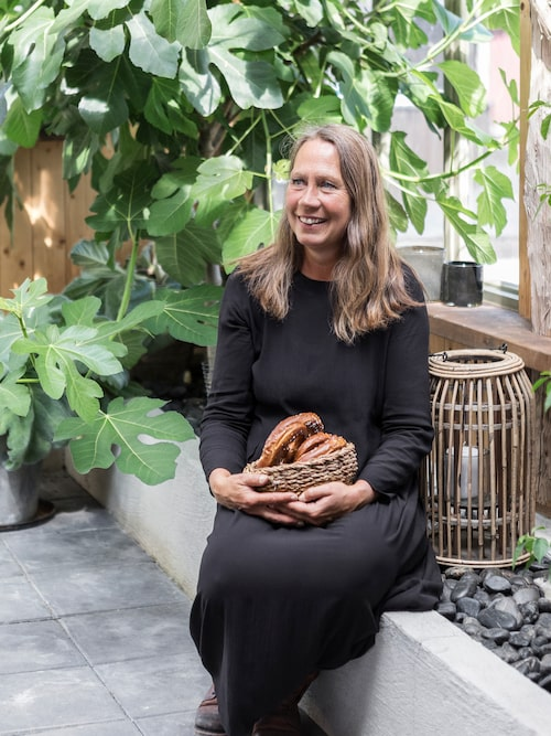 Monica har två fikonträd som är planterade i marken i orangeriets inbyggda odlingsbänk. De växer så det knakar och Monica får klippa och ta sticklingar hela tiden.