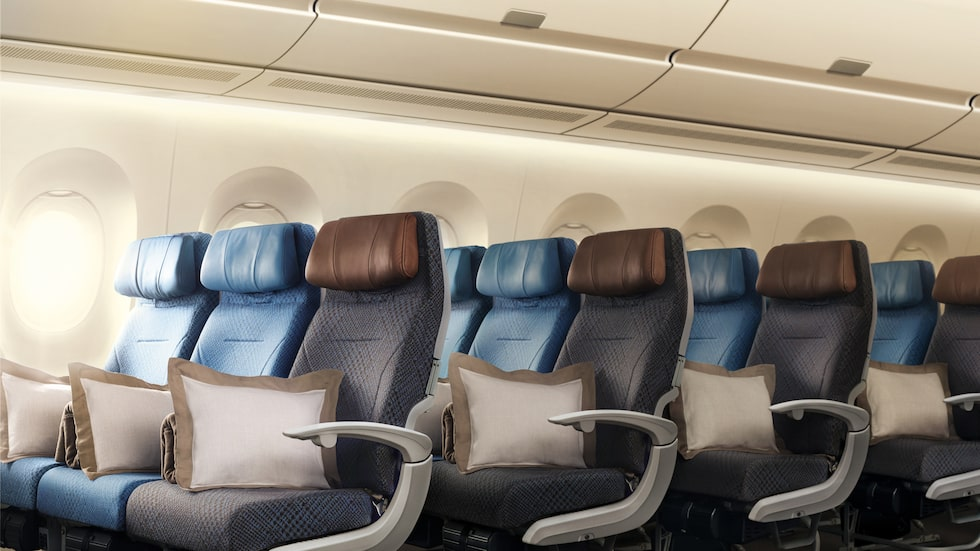 Singapore Airlines ekonomiklass med 187 säten.