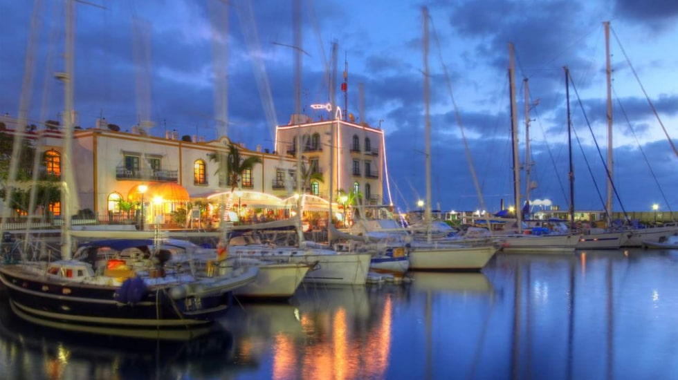 sunset in puerto de mogan, gran canaria, spain