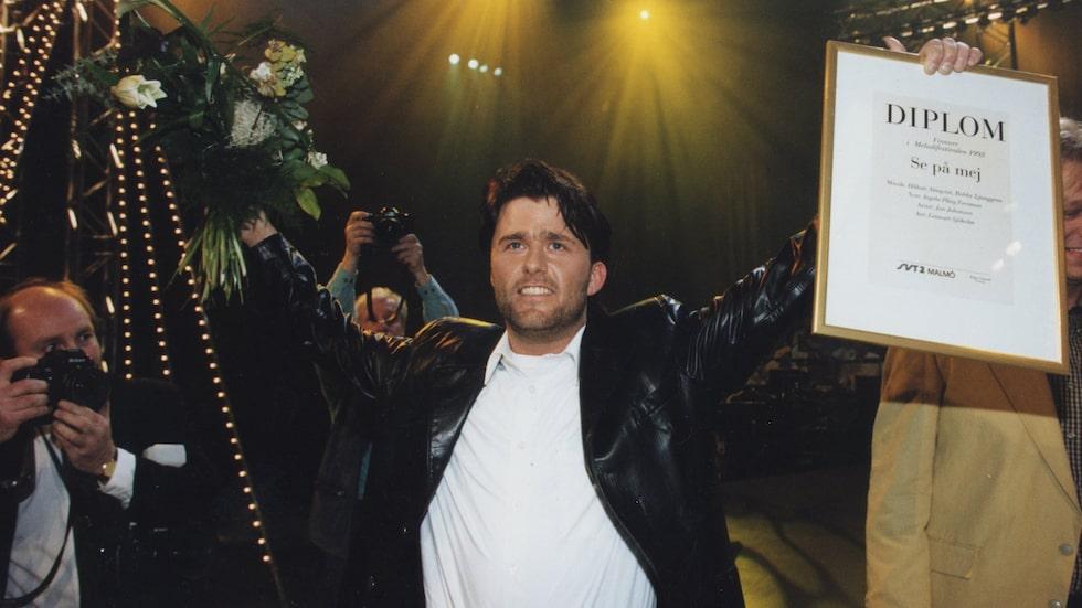 """Jan Johansen slog igenom när han vann Melodifestivalen 1995 med """"Se på mig"""", en låt han spelade in av misstag."""