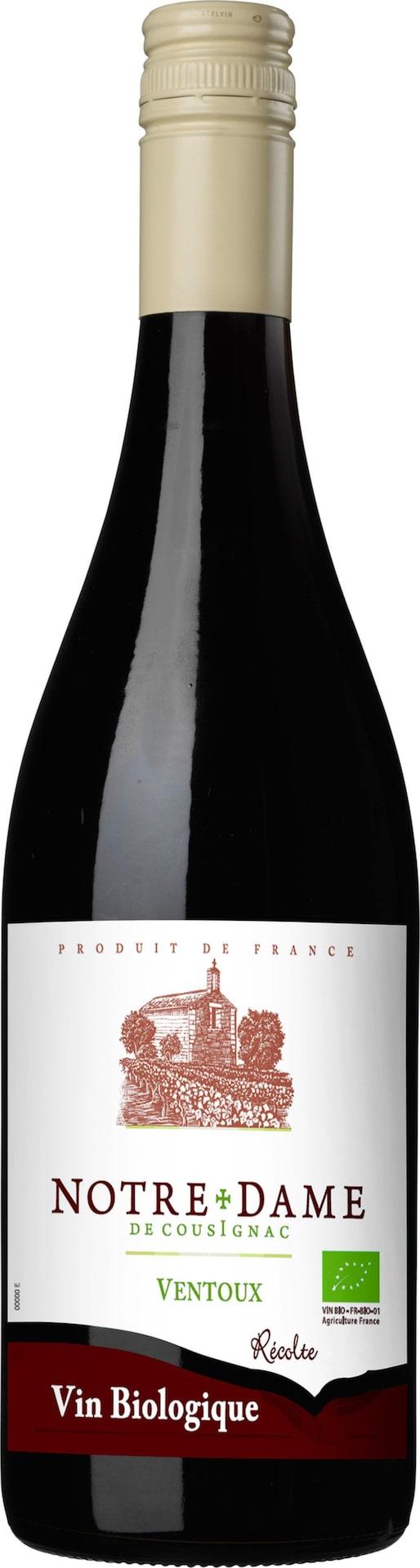 RöttNotre Dame de Cousignac Ventoux 2013(2406) Ventoux, 72 krUngt med toner av mogna plommon, körsbär och kryddor. Ekovin. Gärna till kryddiga korvar med rostade rotfrukter.