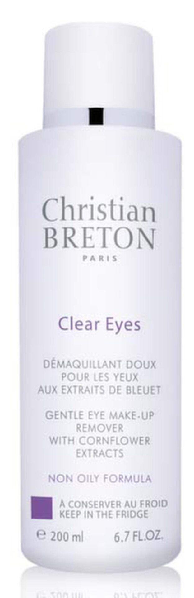 Clear Eyes Makeup remover löser upp all ögonmakeup utom vattenfast. Bra för linsbärare och den med känslig hud då den inte innehåller olja. Remover från Christian Breton, 199 kronor.