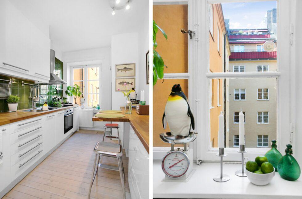 """""""Pingvinerna är framför allt snygga men också ett sätt att befolka lägenheten utan att ha med människor"""", säger Bo Lingserius på mäklarbyrån Remax som är ägare till pingvinerna."""
