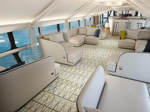 Kabinen i Airlander 10 bjuder på gott om utrymme för passagerarna.