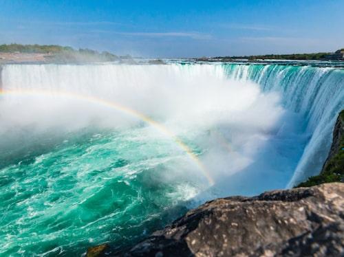 Niagarafallen i östra Nordamerika ligger på gränsen mellan USA och Kanada.