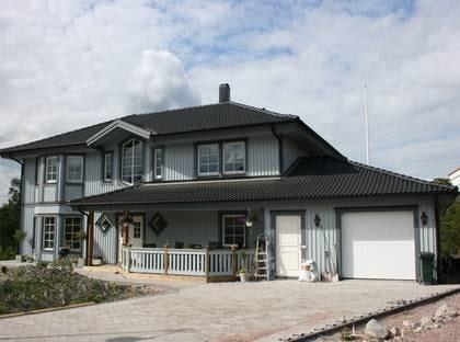 VILLA STRAND - Lite 1800-tal, lite herrgård, lite amerikadrömmar... TYP: 2-planshus med åtta rum och kök på 233,3 kvadratmeter. Plus inbyggt garage på 37,8 kvadrat. PRIS: 3 800 000 kronor. 14 017 kronor kvadratmetern, inräknat garaget HUSFÖRETAG: Kvalitetshus www.kvalitetshus.se