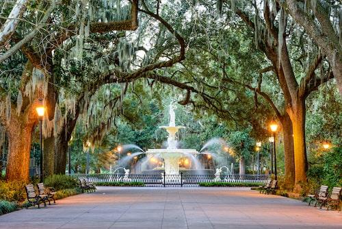 Forsyth Park i Savannah.