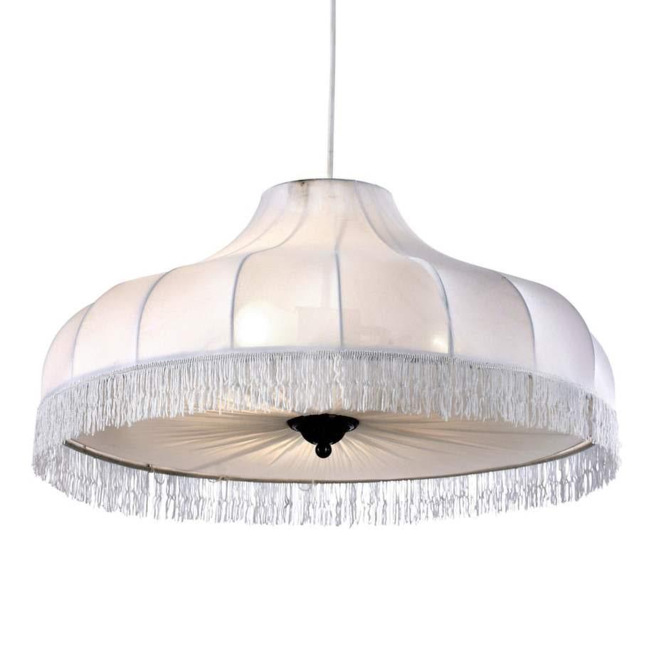 3 Lampa med skärm i textil, 60 centimeter i diameter, 1 899 kronor, Ellos.