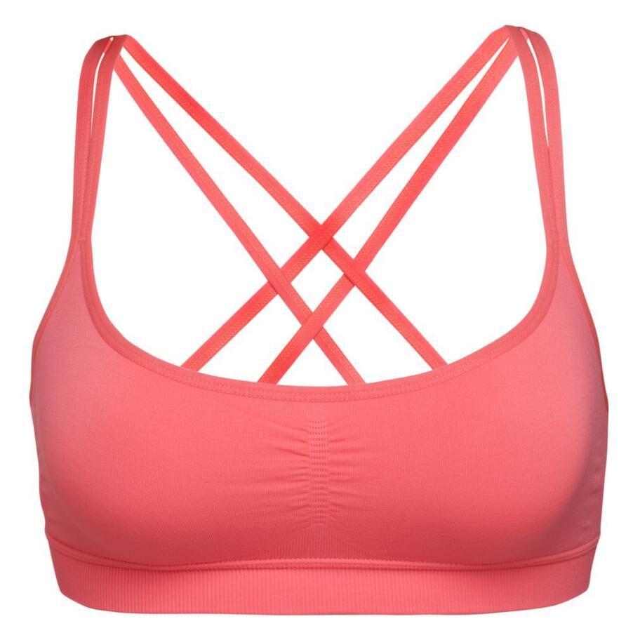 Korslagt. Behå i bomull med korslagda band i ryggen som passar för högintensiv träning, storlek XS-XXL, Keep it up, 265 kronor.