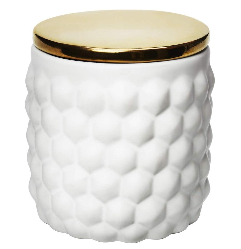 Vit keramikburk med guldsprejat lock, 149 kronor, H & M home.