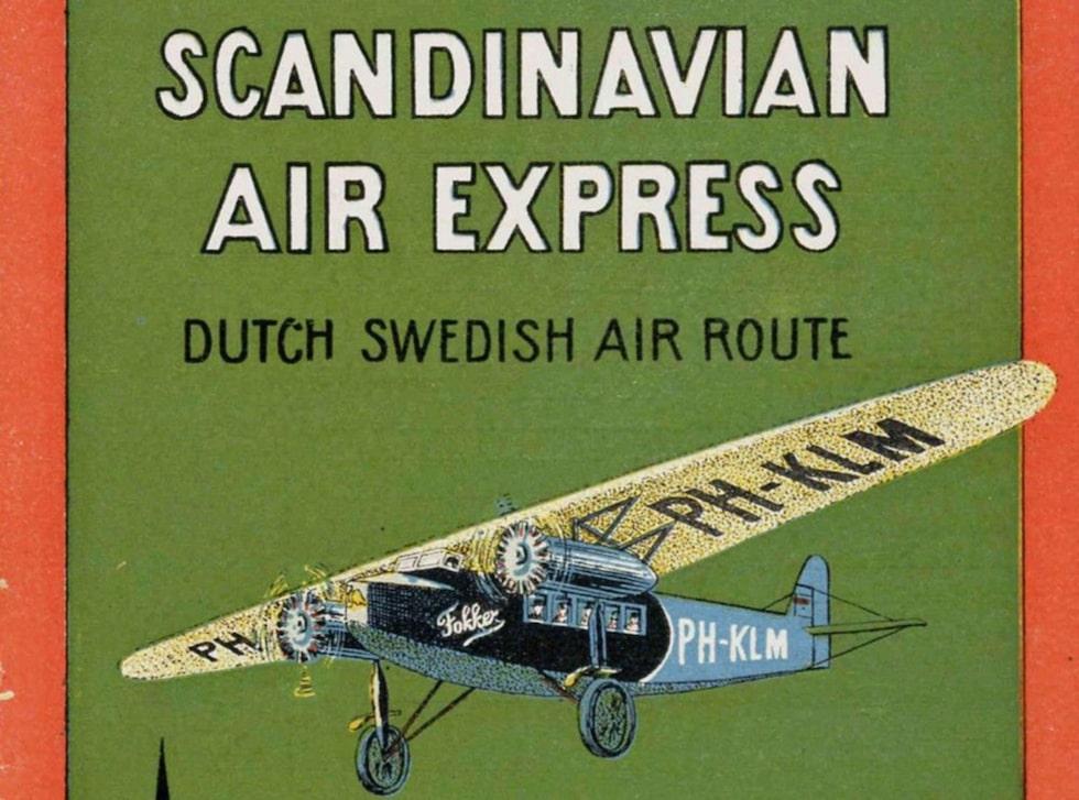 Scandinavian Air Express resebroschyr från 1929, då flyget bara gick till Malmö och passagerarna fick åka med tåg sista biten till Stockholm.
