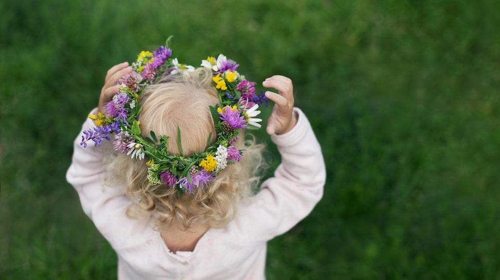 En blomsterkrans i håret hör också till midsommar.