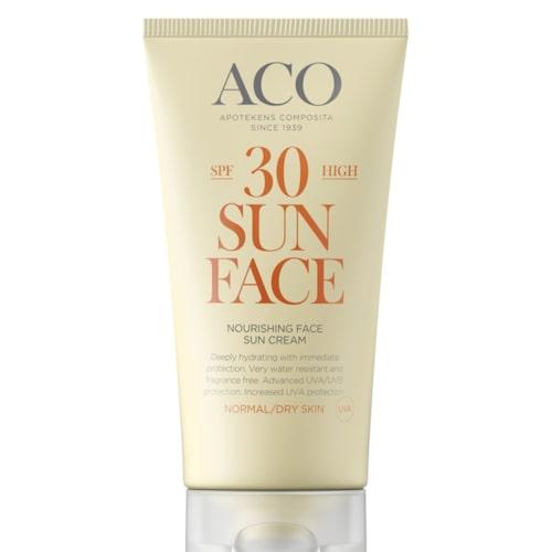 Återfukta. ACO:s Sun nourishing face sun cream skyddar du ansiktet från stark sol och återfuktar huden. Med SPF 30. 89 kronor, Apotea.se