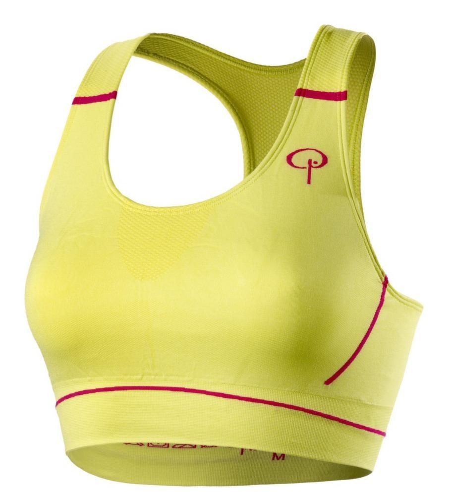 Färgstark. Gul sportbehå med lättare vaddering och medelstöd, storlek S-XL. Materialet är bomull, polyamid och elastan. Pierre Robert, 249 kronor.