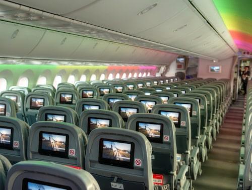 I taket på Norwegians Dreamliner finns så kallad mood light