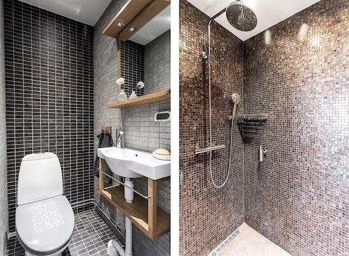 Separat extra duschrum med klinkergolv med vattenburen golvvärme, italiensk glasmosaik på väggarna, exklusiva armaturer med dimmer.