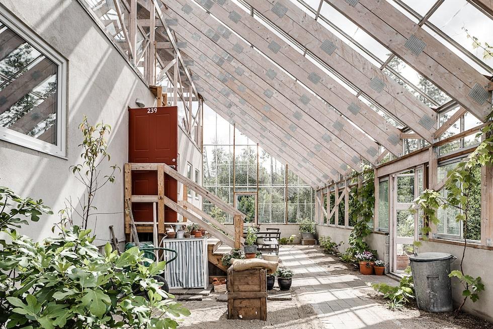 Här kan man odla och vara självförsörjande på både frukt och grönt. Inglasningen ger medelhavsklimat och en lång utomhussäsong.