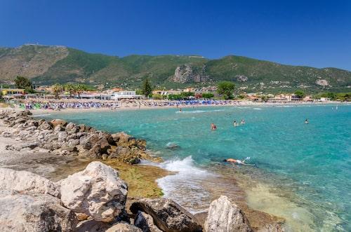 Vackra stranden Alikes på Zakynthos.