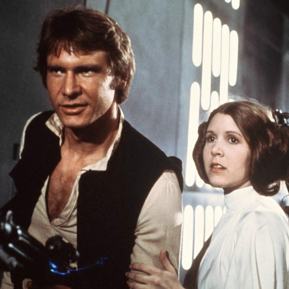 Harrison Ford, Carrie Fisher och Mark Hamill gjorde succé i de första Star Wars-filmerna där den första kom 1977.