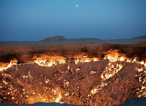 Kratern i i Karakum-öknen i Turkmenistan har brunnit i närmare 50 år.
