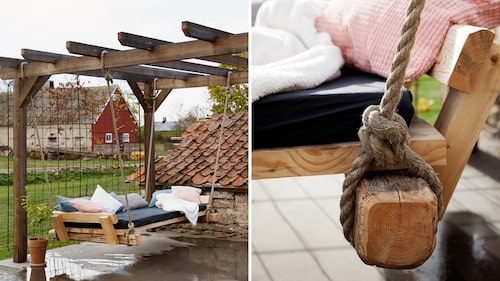 Soffgungan på uteplatsen har Andrea och Björn byggt själva.