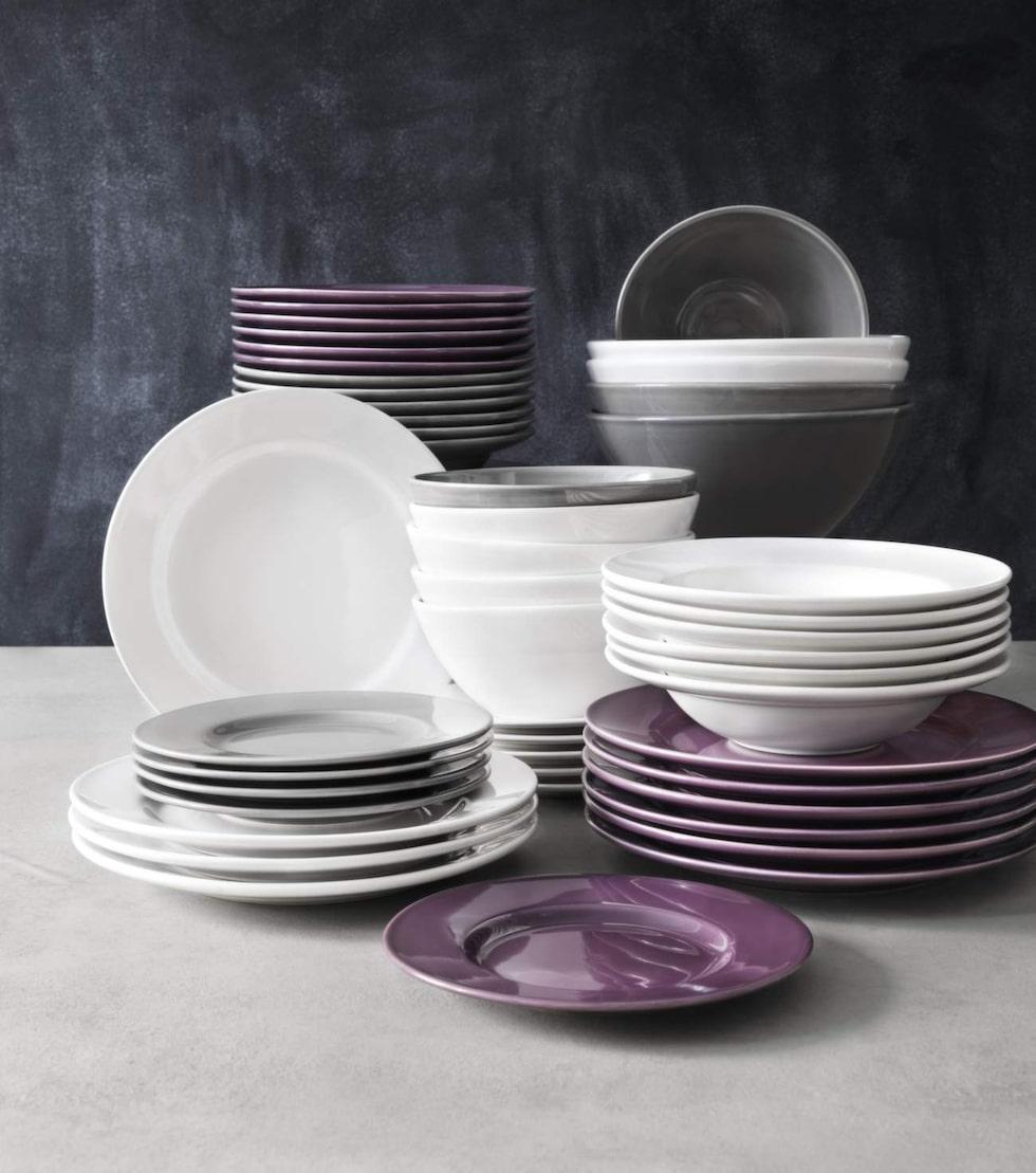 Duka fint. Porslin i vitt, grått och lila ur serien Cook & eat. Tallrikar, från 40 kronor styck, djupa tallrikar, 50 kronor styck, frukostskålar, 35 kronor styck, allt från Icahemma.se.