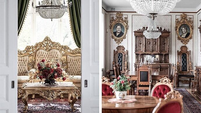 Inredningsstilen är spektakulär, med flertalet möbler med äkta bladguld.